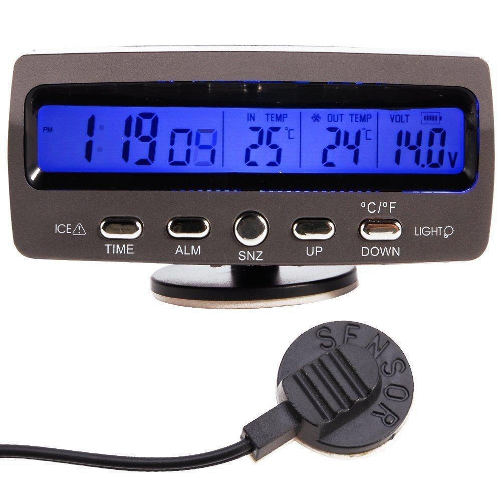 WINGONEER LCD Auto Digital Innen Auß en Thermometer Spannungstester Voltmeter Spannungsmesser KFZ PKW Datum Uhr Alarm