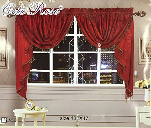 Octorose Royalty Custom Waterfall Window Valance Swags and Tails 132 x 47 – Inches, Red (1 Pair)
