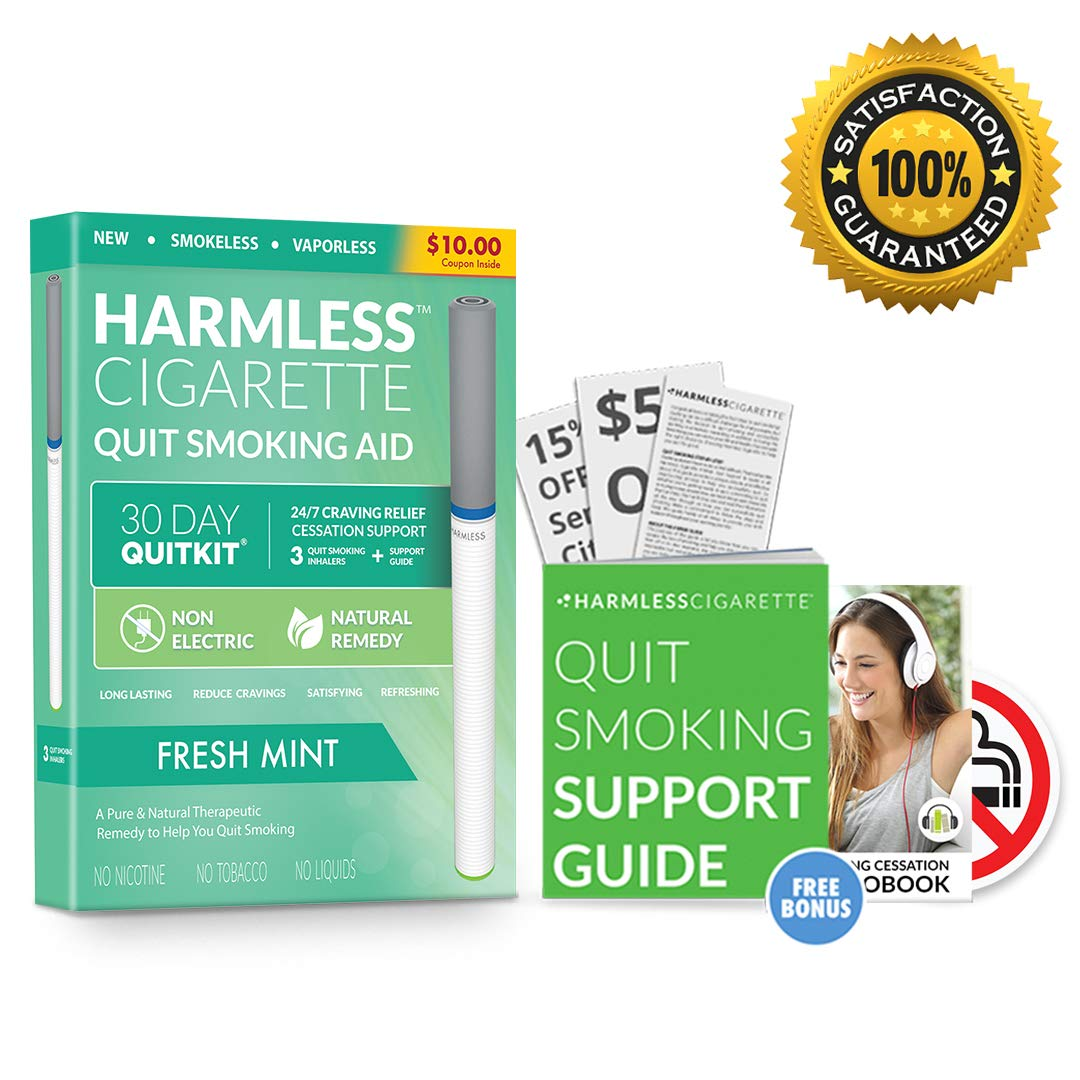 Smokeless Cigarette, Harmless Stop Smoking Aid, Safe Habit Replacement to Reduce Cravings Naturally and Overcome The Urge to Smoke, Nicotine-Free Quit Smoking Solution (Fresh Mint, 30 Day Quit Kit)