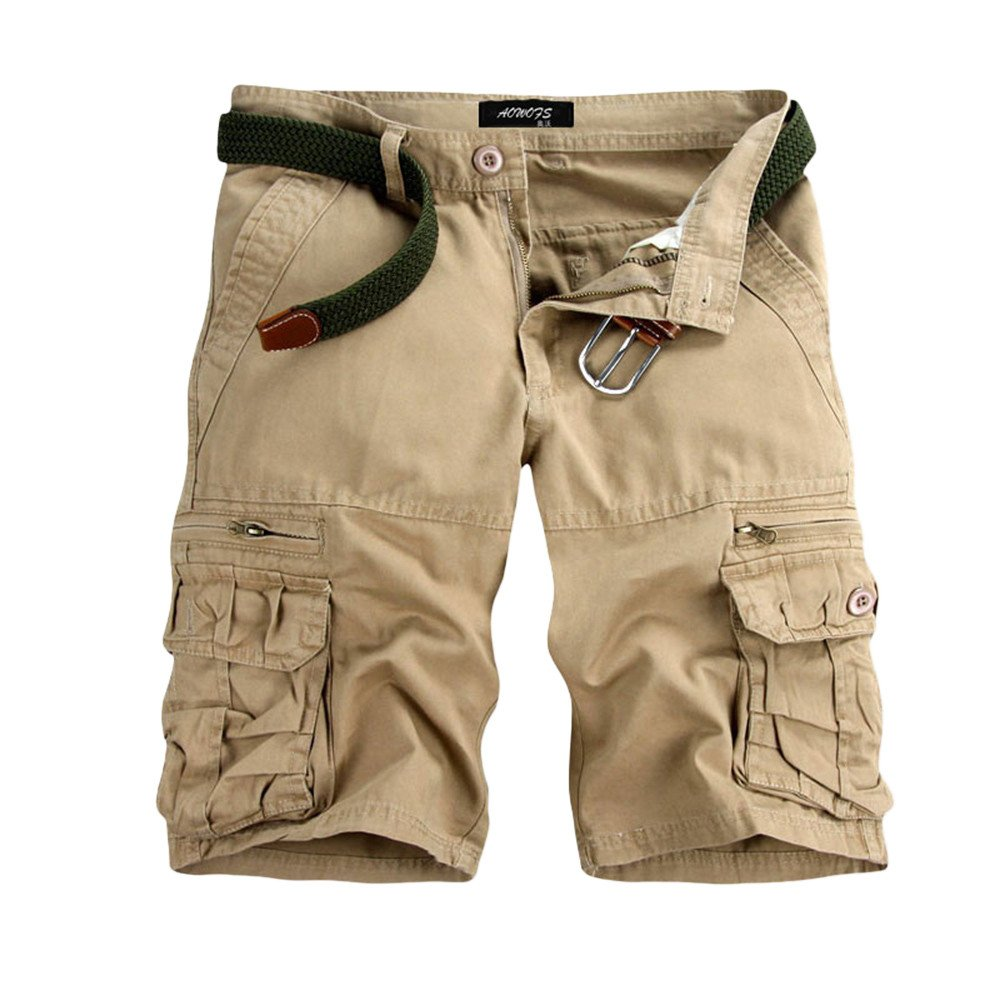 Mens Cotton Cargo Shorts, Men Casual Solid Loose-Fit Outdoors Pocket Beach Work Hiking Straight Short Pants (Size: 29, Beige) by FDSD Men Pants