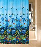 FOME Waterproof Mouldproof Opacity Bath Shower Curtain with 12 Hooks (Ocean Submarine World Fishes) + FOME GIFT