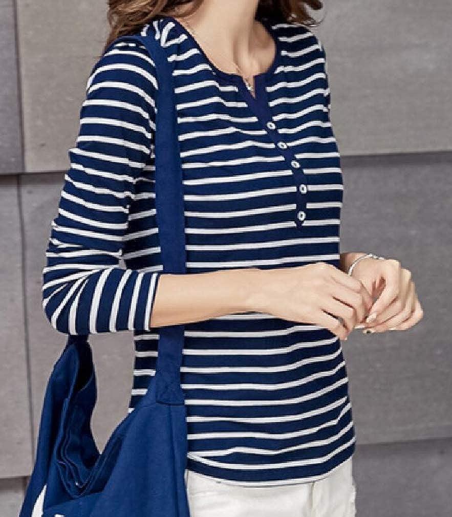 Easonp Womens Slim Fit Top Tees Long Sleeve Striped V-Neck T-Shirts