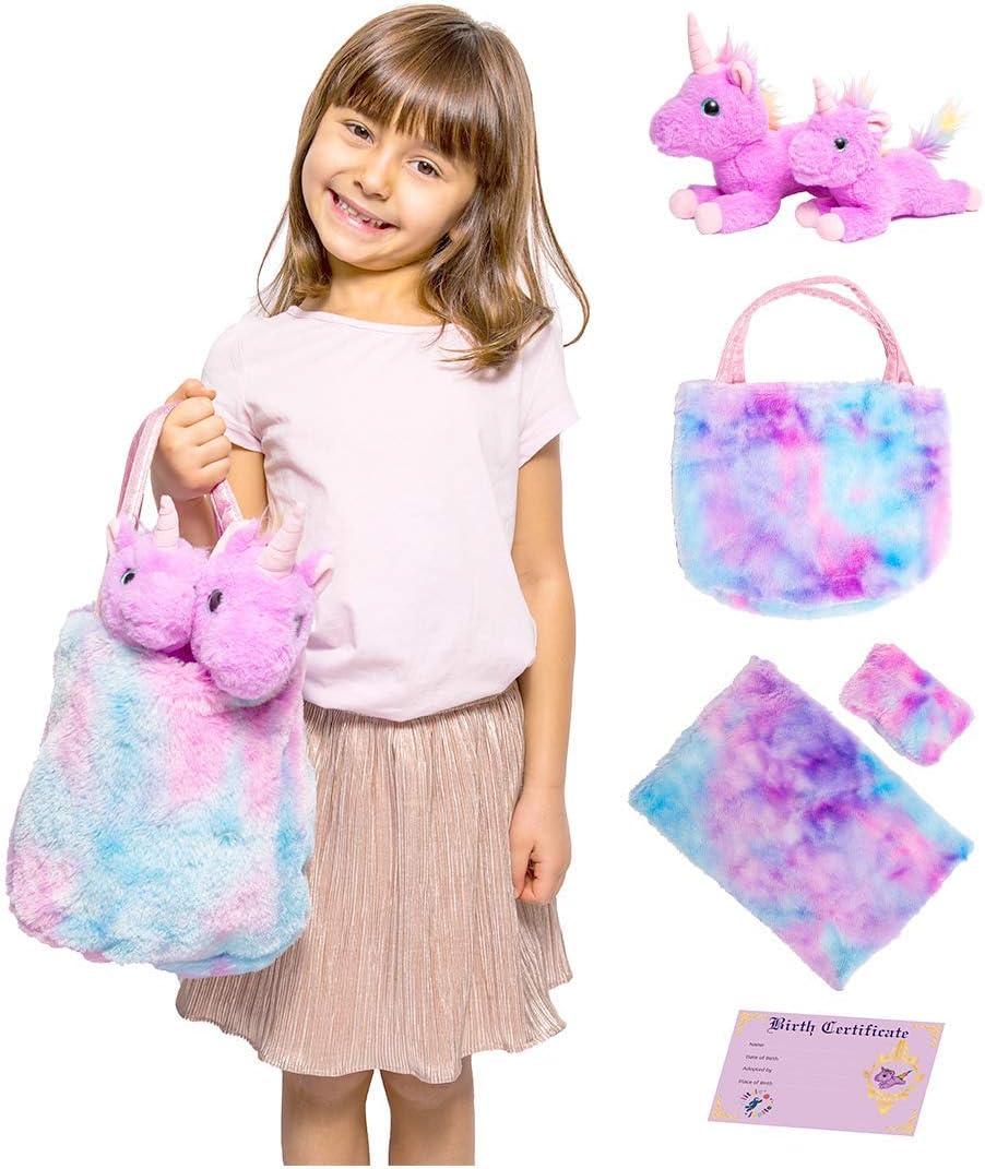 /& Birth Certificate Rainbow Purse Bag Little Jupiter Mommy /& Baby Unicorn Gift for Girls 4,5,6 Doll Pillow Stuffed Animal Set w// 2 Purple Plush Toys Stuffed Plushies for Birthday /& 7 Blanket