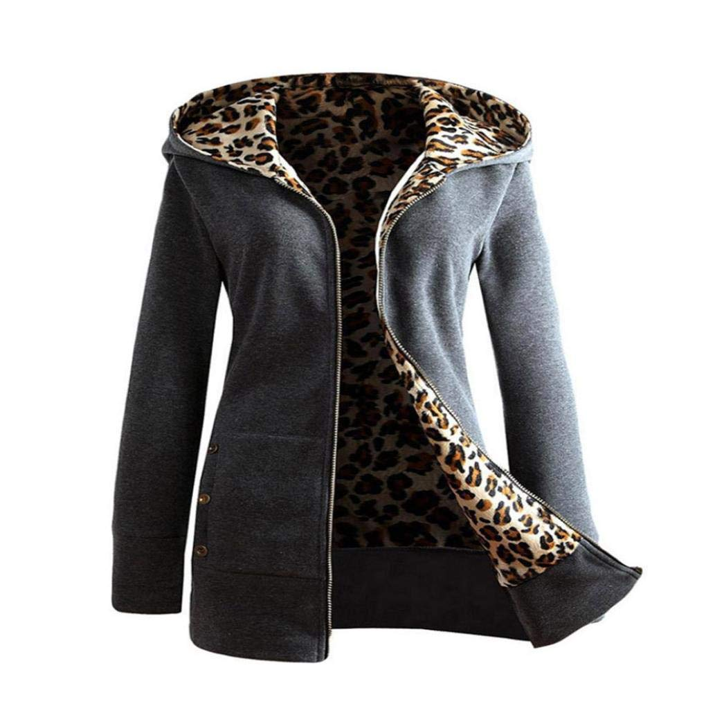Liraly Womens Coats,Clearance Sale! 2018 New Fashion Women Plus Velvet Thickened Hooded Sweater Leopard Zipper Coat(US-6 /CN-M,Dark Gray)