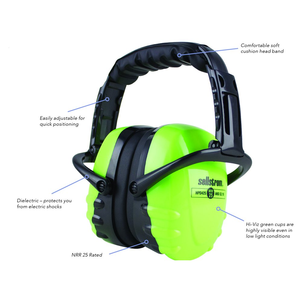 Sellstrom S23406 Noise Cancelling Ear Muffs, 25dB NRR, Adjustable Fit, Soft Cushion Headband, Dielectric Protection , Lightweight, Black / Green