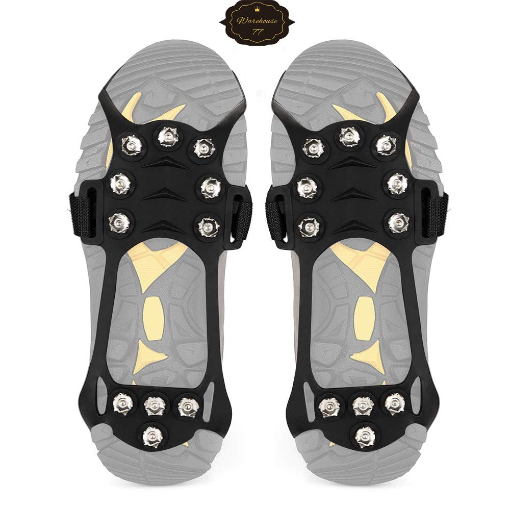 for Walking Jogging Hiking Mountaineering Ice Snow Grips,Crampons-11 Teeth Original Heavy Duty Stabilicers Ice Traction Cleat Warehouse77 Anti Slip Stainless Steel Durable Silicone Crampons 1 Pair