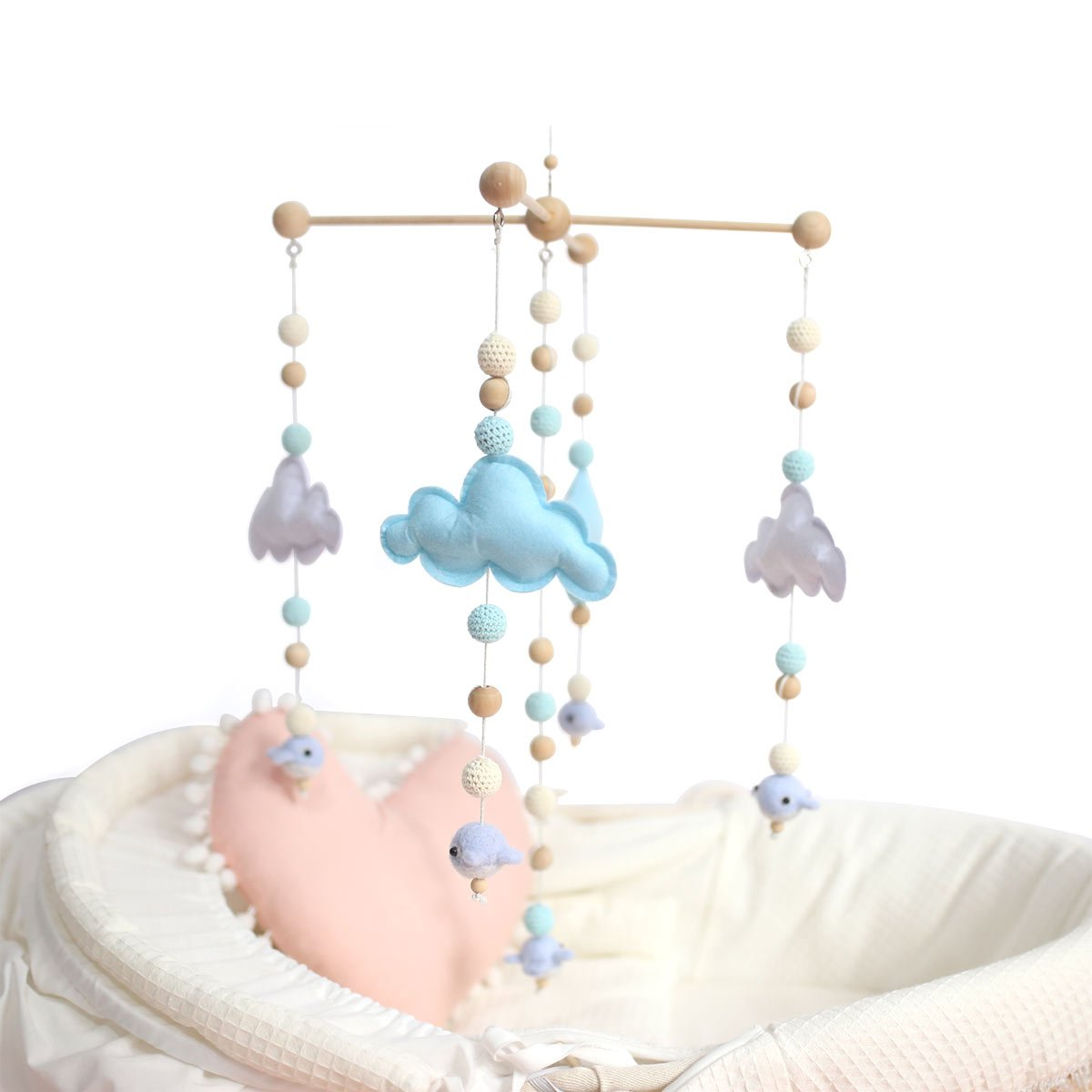 Baby Tete Baby Crib Mobile Bed Bell Silicone Beads Rattles Toys Handmade Nursery Infant Mobile Wooden Wind Chimes Tent Hanging