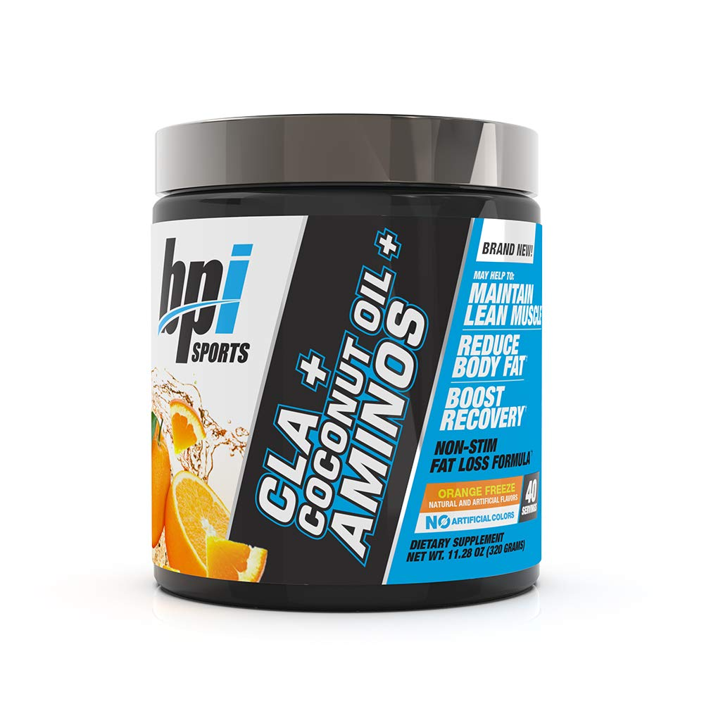 BPI Health CLA + Coconut Oil + Aminos, Non Stimulant Fat Loss Supplement Powder, Boost Weight Loss, Maintain Lean Muscle, Orange Freeze, 40 Servings, 9.8 Ounce
