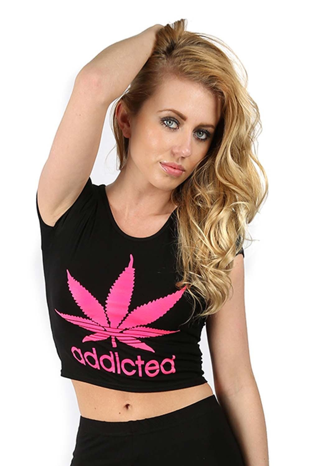 Oops Outlet Womens Casual Addicted Cannabis Texture Leaf Nirvana Print Crop Top