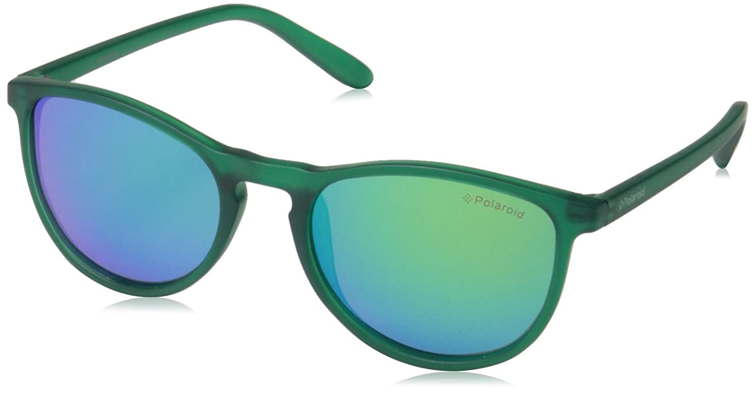Polaroid Sunglasses PLD8016N Polarized Oval Sunglasses, Transparent Dark Green/Green Mirror Polarized, 48 mm
