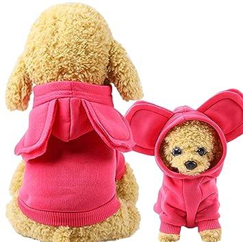 Xiaoyu Mascota Perro Ropa con Capucha Prendas de Vestir Gato Cachorro  cálido Sudadera Abrigo suéter para Perros pequeños con Lindo Sombrero 155652cc952