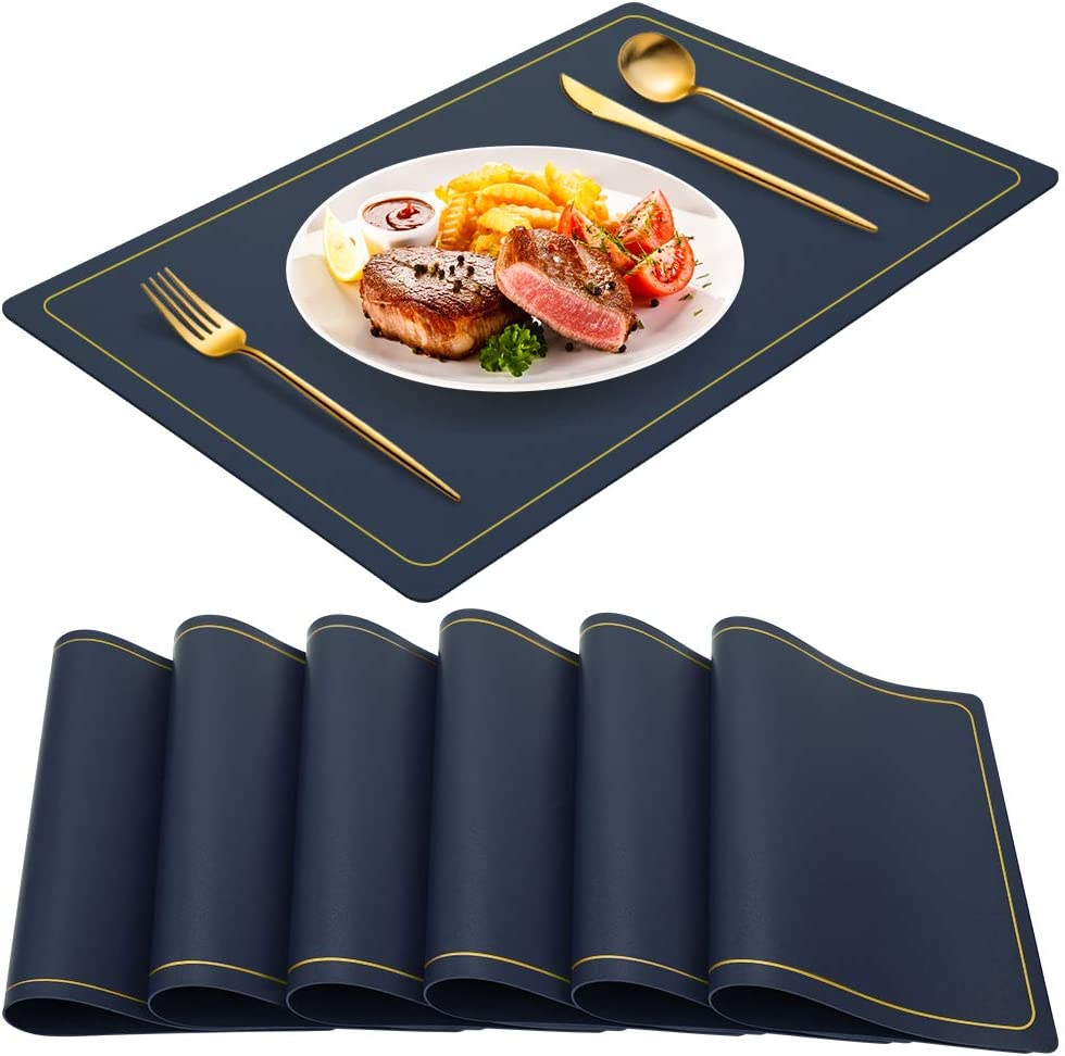 WEHVKEI Navy Blue Placemats for Dining Table Set of 6, Waterproof Wipeable PU Leather Place Mats Indoor, Washable Kitchen Table Mats for Easter Thanksgiving Christmas New Year Party Home Decor
