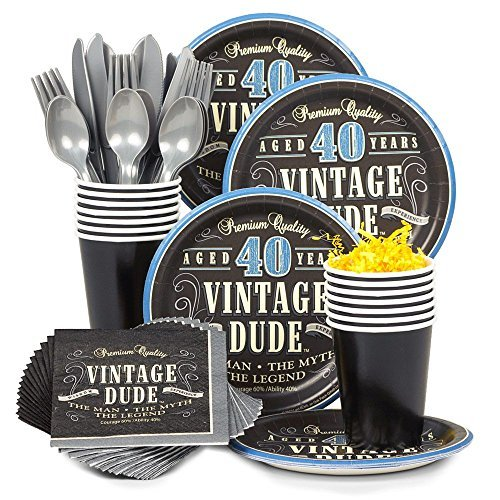 Costume Supercenter BBKIT693 Vintage Dude 40th Birthday Party Standard Tableware Kit -