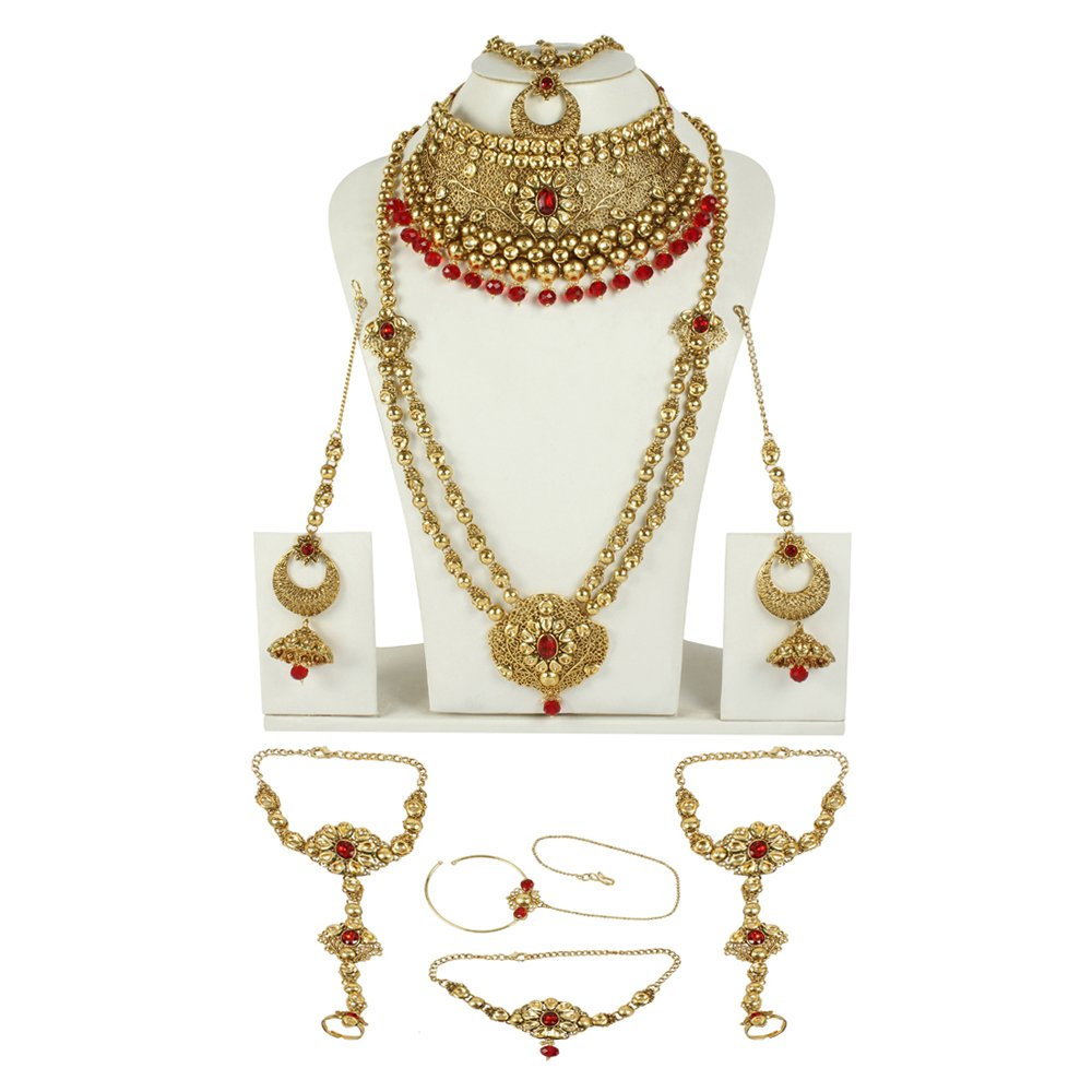 MUCHMORE Marvellous Style Polki Traditional Necklace Earring Bridal Set Partywear Jewelry For Womens by Muchmore (Image #2)