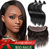 Cheap Aliglossy hair Peruvian Virgin hair straight with lace Frontal Closure 13X4 inch ear to ear lace frontal with bundles 3 Bundles straight Hair with closure Natural Color (12 14 14 with 12)