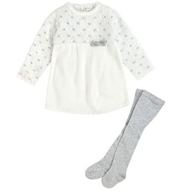 268cf173dca1d Petit Lem Baby Girls' Holiday Furry Sweater Dress With Bow and Tights