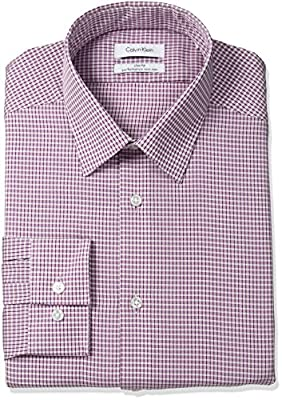 Calvin Klein Men's Non Iron Slim Fit Check Point Collar Dress Shirt