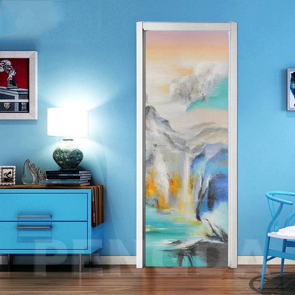 Papel pintado para puerta autoadhesivo 3D 77 x 200 cm, vinilo abstracto, cuadro de pared para salón, dormitorio, cultura del hogar, PVC, desmontable, resistente al agua, pvc, 88x200cm