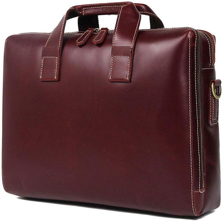 Shenghua1979 Mens Business Bag Mens Leather Handbag Shoulder Bag Retro Leather Satchel Unisex Long Strap Crossbody Travel Messenger Bags 15 Inch Chocolate Business Laptop Bag