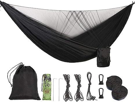 VALINK Campeggio Amaca con Zanzara Rete da Esterno Addormentato Amaca Escursionismo Zaino Portatile Alta Forza Paracadute Tessuto Appeso Letto 2 Persone Viaggio per Spiaggia Giardino 260x130cm