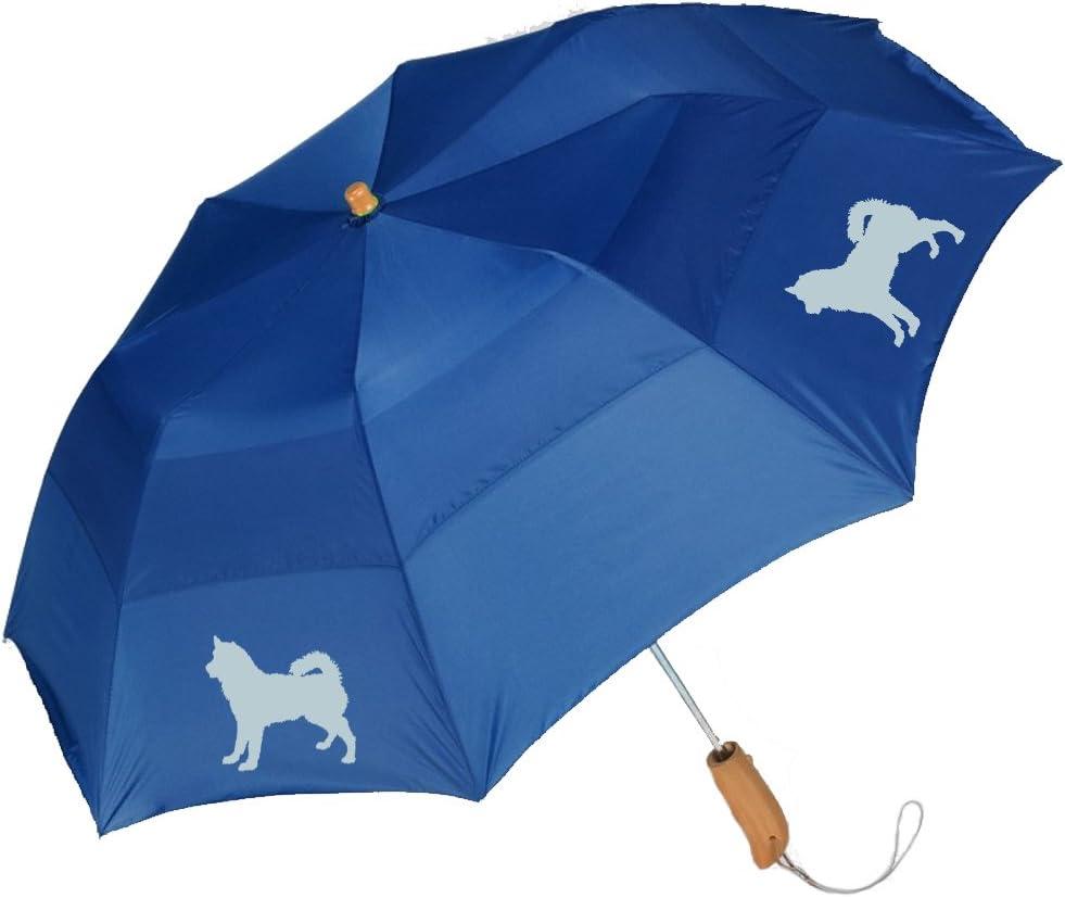 Peerless 43 Arc auto open folding umbrella with/Alaskan Malamute Silhouette