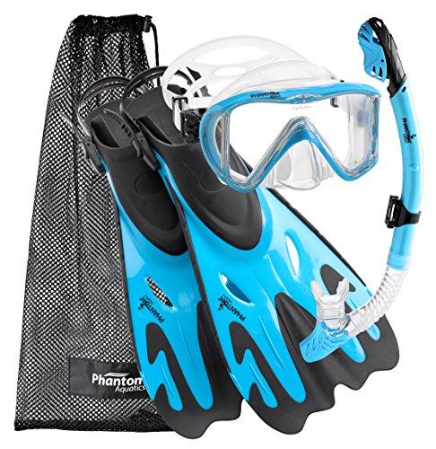 Phantom Aquatics Legendary Mask Fin Snorkel Set with Mesh Bag, Aqua, Small/Medium (5-8)