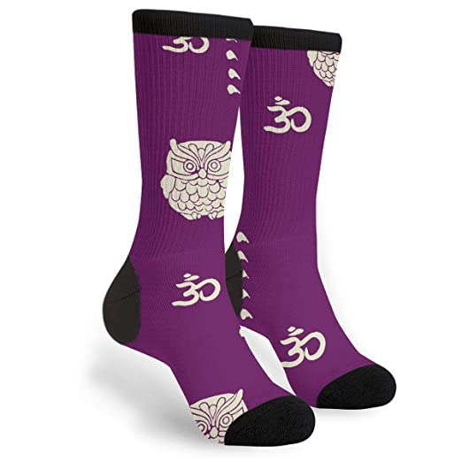 bc756ed6d Image Unavailable. Image not available for. Color  Owl Purple Crew Socks - Fun  Novelty ...