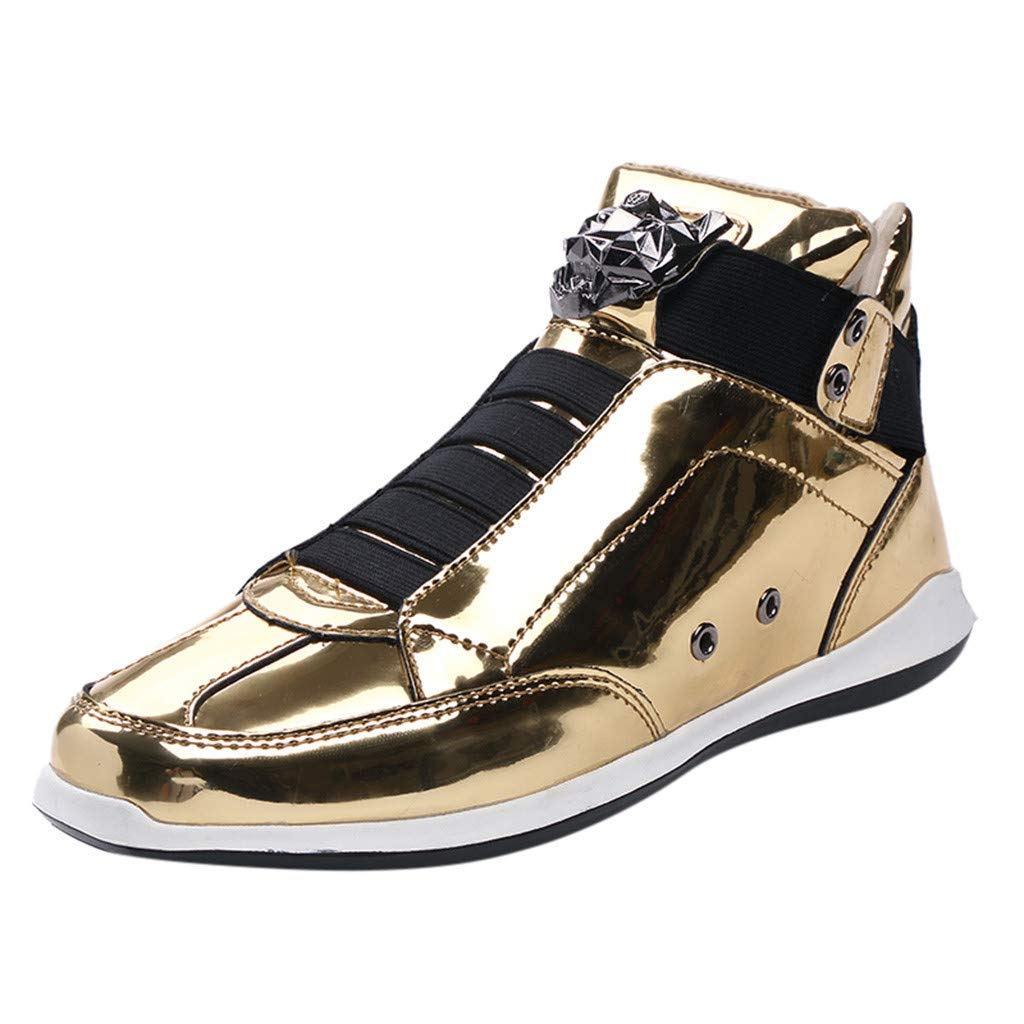 Caopixx Men Fashion Casual Shoes High-top Lacquered Leather Sneakers Waterproof Shoes Gold