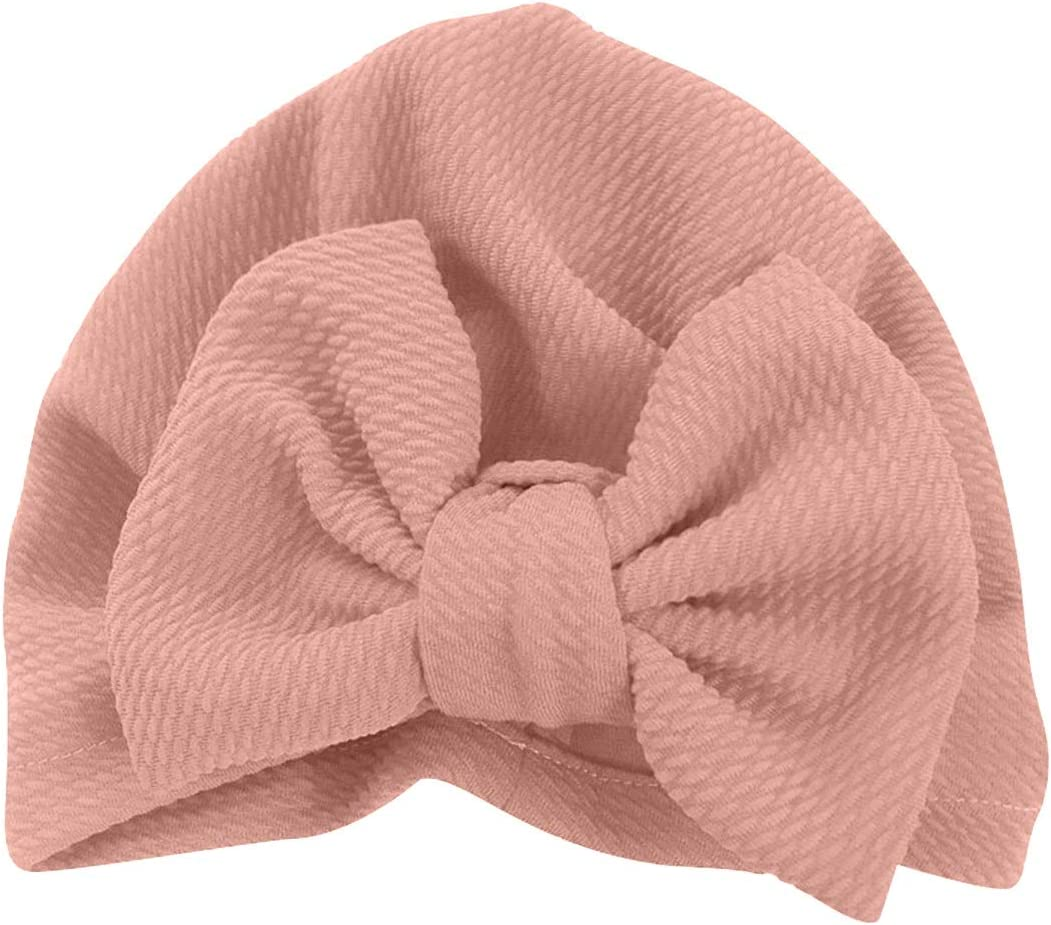 Newborn Little Girl Bowknot Turban Indian Hat Solid Elastic Knotted Bow Beanie Cap