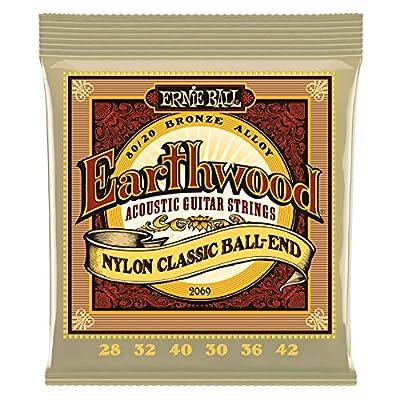 Ernie Ball. Earthwood Folk Nylon Ball End Set, Clear and Gold from Ernie Ball.