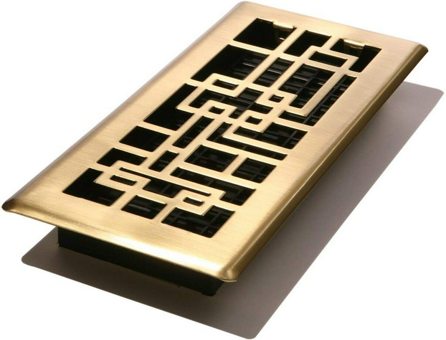Decor Grates ABH410-SB Abstract Floor Register, Satin Brass Finish, 4-Inch by 10-Inch