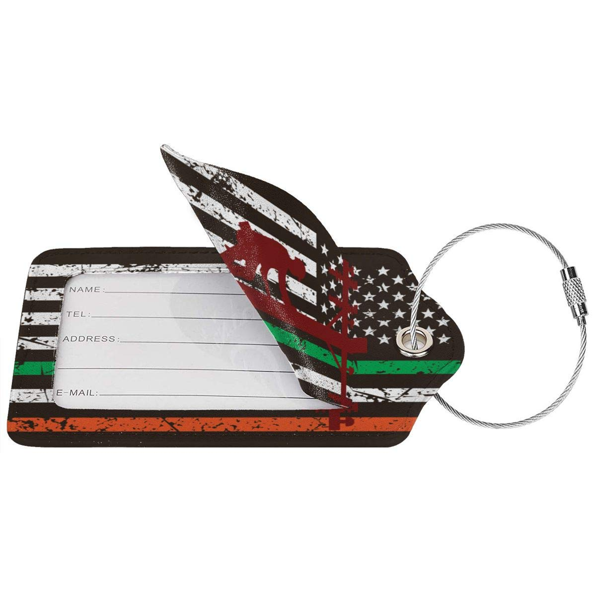 GoldK Lineman Vintage Irish Flag Leather Luggage Tags Baggage Bag Instrument Tag Travel Labels Accessories with Privacy Cover