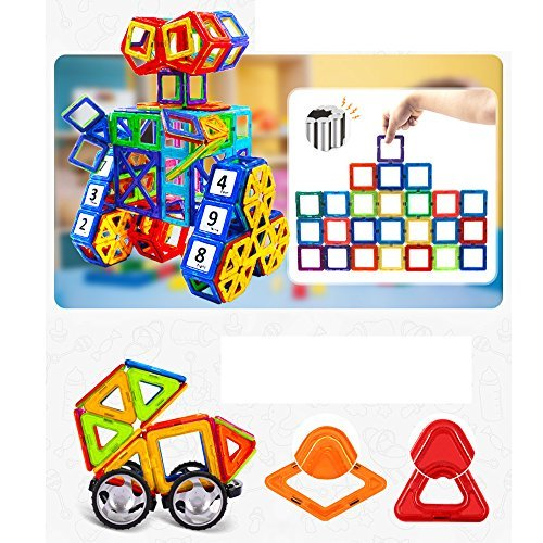 Magnetic Building Blocks - 95 pcs Large Set - 3D Educational Toys for Boys and Girls - Great for 3+ Years Old Toddlers and Kids - Tiles with Innovative Build Magnets - Great Gift for Children!