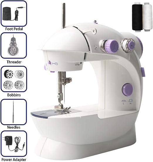 Mini máquina de coser ISKM + 2 bobinas de coser gratis luz LED programa de costura AC100 – 240 V & 2 velocidad regulación L/H máquina de coser para principiantes violeta: Amazon.es:
