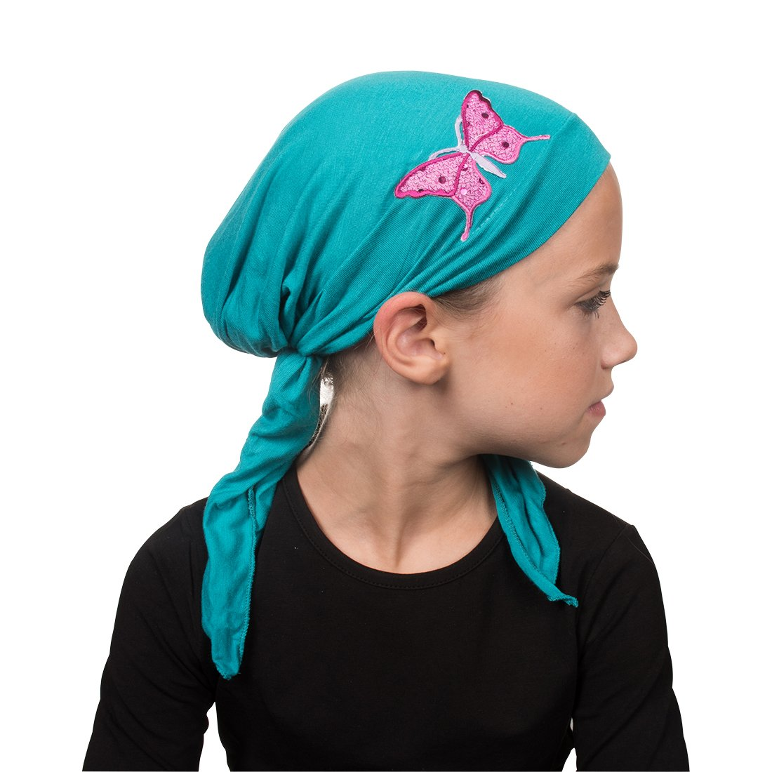 Sequin Butterfly Child's Pretied Head Scarf Cancer Cap - Turquoise by Landana Headscarves