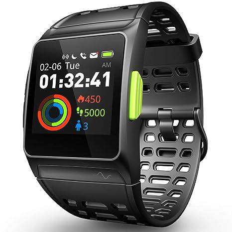 Reloj Inteligente Rastreador de Ejercicios, GPS Reloj Deportivo ECG/Fatiga/Dormir/Monitor de Ritmo Cardíaco IP68 Smart Watch, Notificaciones de ...