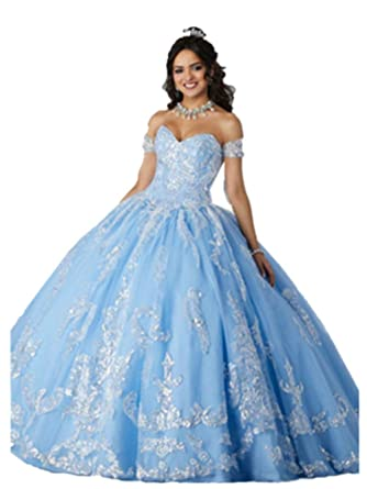 92832bd1c9b Annadress Women s Lace Quinceanera Dresses Off Shoulder V-Neck Ball Gown  Quinceanera Blue 2