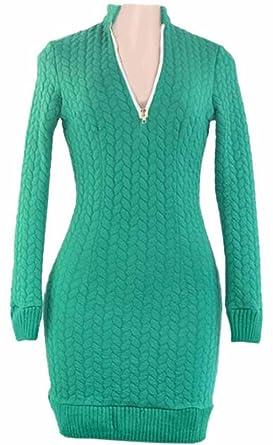 40f7f0e39e2 Generic Womens Deep V-Neck Zipper Knitting Bodycon Mini Sweater Dress Green  XS