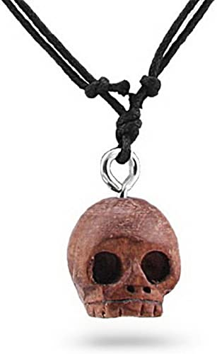 Necklace real leather skull leather necklace adjustable skull gift for men