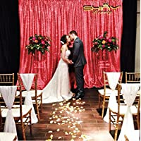 20 Ft X 10 Ft-Red-Shimmer Sequins Fabric Backdrop Sequin Backdrop Curtain For Party/Wedding/Event (Red)