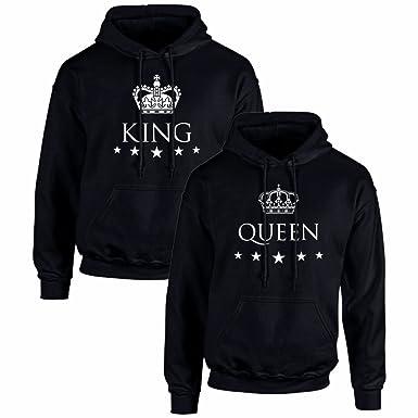 Sudaderas para Parejas King y Queen (Mujer Tamaño L + Hombre Tamaño S)