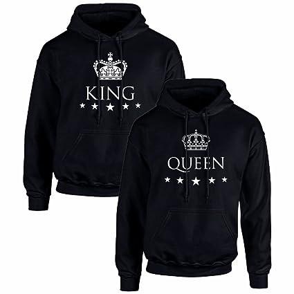 Pack de 2 Sudaderas Negras para Parejas, King y Queen, Blanco: Amazon.es: Ropa y accesorios