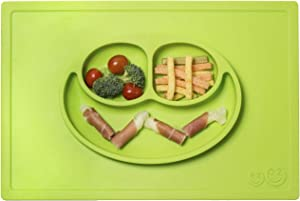 ezpz Happy Mat (Lime) - 100% Silicone Suction Plate with Built-in Placemat for Toddlers + Preschoolers - Divided Plate - Dishwasher Safe