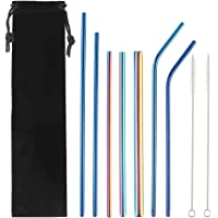 Vanansa Metal Drinking Straws - 3 Rainbow Straws and 4 Blue Straws with 2 Cleaner Brushes - Stainless Steel Straw…