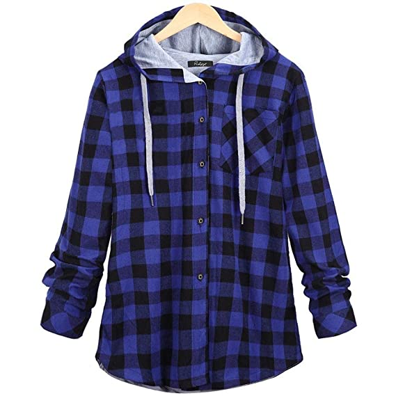 GOVOW Plaid Hooded Shirt Jacket Womens Long Sleeve Cardigan Jacket Blouse