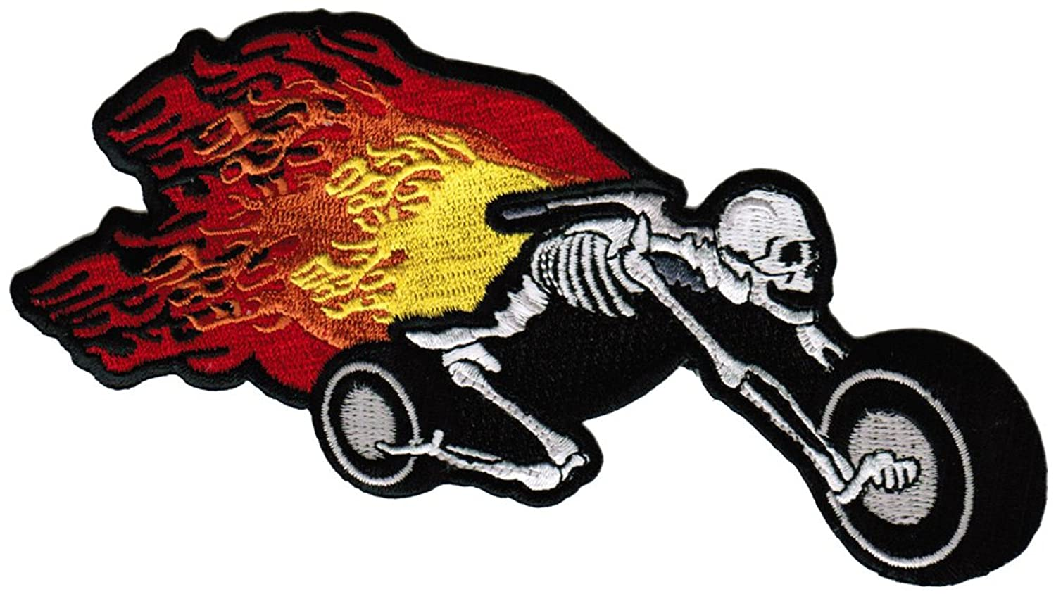 Motorcycle clip art with flames - Amazon Com Flaming Skeleton Chopper Patch Embroidered Skull Motorcycle Flames Biker Emblem Clothing