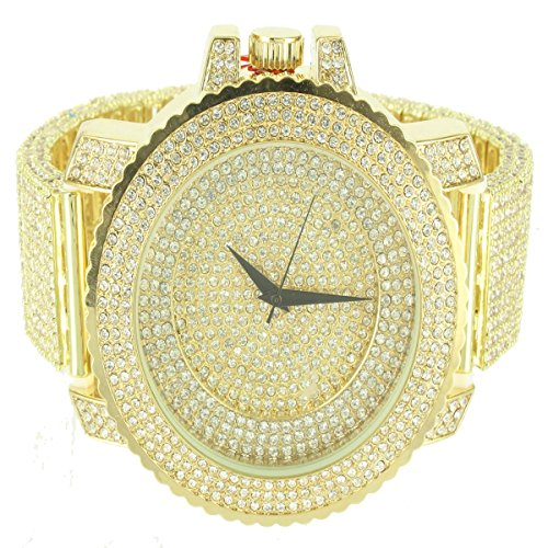 Canary Dial Step Design Men Bling Master Icy Metal Band Techno Pave Watch Custom