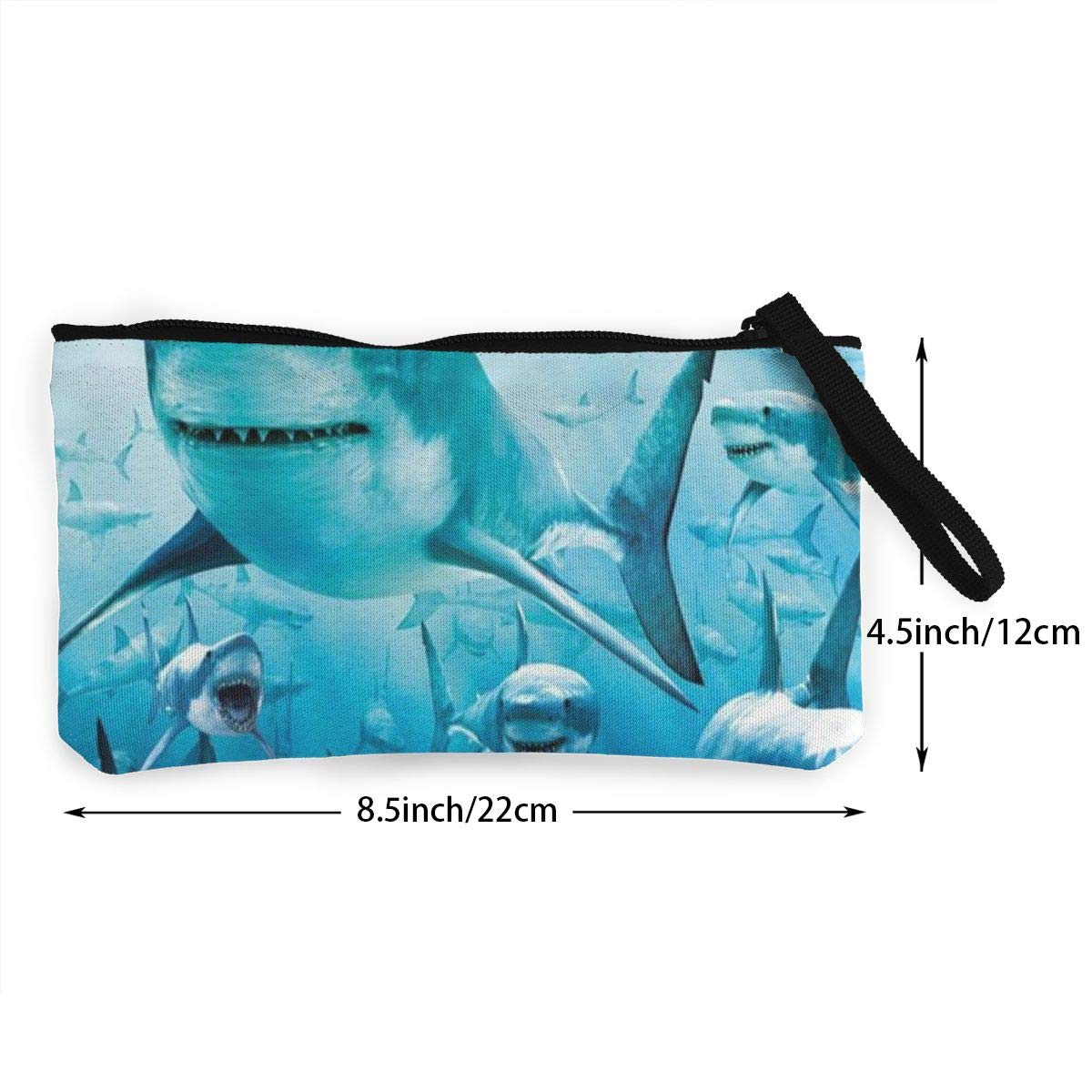DH14hjsdDEE Shark Under The Sea Zipper Canvas Coin Purse Wallet Make Up Bag Cellphone Bag With Handle