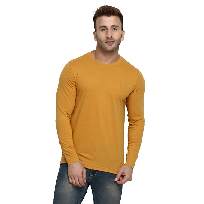 c344a519a30 CHKOKKO Full Sleeve Cotton Casual Round Neck T Shirts for Men Mustard XL  Size  Amazon.in  Clothing   Accessories