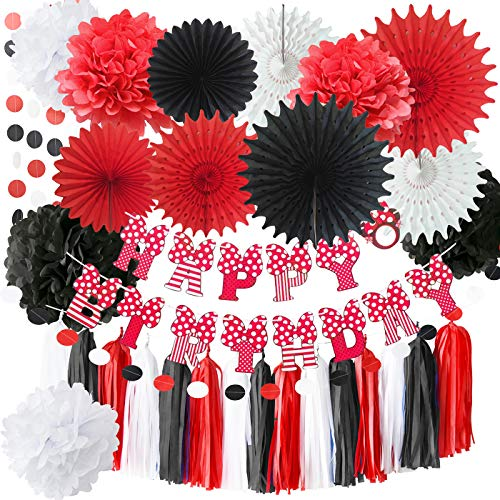 Red Minnie Mouse Party Supplies White Black Red Baby Ladybug Happy Birthday Party Decorations/First Birthday Decorations Tissue Pom Pom Paper Fans Minnie/Mickey Mouse Birthday Party -